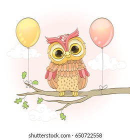 cute owl on a branch and balloons over pink sky with clouds. cartoon raster illustration