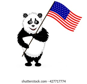 Cute Panda Holding American USA Flag on white background