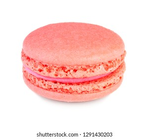 Cute pastry macaron dessert isolated on white background