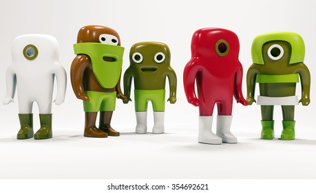 Cute people isolated on white. Abstract background. 3d. Small man. Toys.