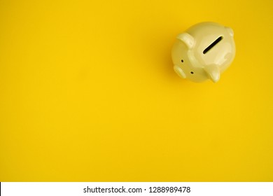 Cute piggy bank placed on a corner with yellow color background