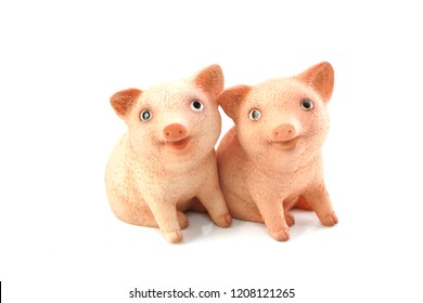 cute piglet figure isolated on white background