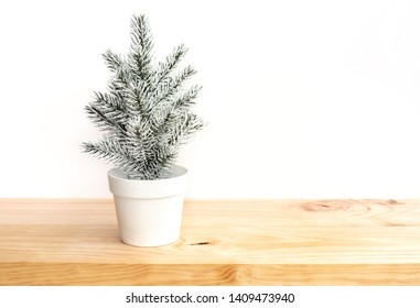 Cute pine tree mock up on white pot on wooden table and pink wwall background.merry christmas and winter concepts ideas.minimal style