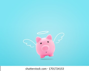 Cute pink angel piggy bank white wings flying over light blue background,