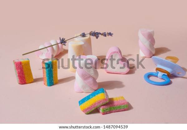 Cute Pink Background Colorful Candies Marshmallows Stock Photo
