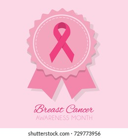 Cute pink Breast Cancer Awareness Month Ribbon inside award bow