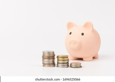 Cute Pink piggy Bank in close-up isolated on white background.Saving investment budget wealth business retirement, financial, money, banking concept. Copy space