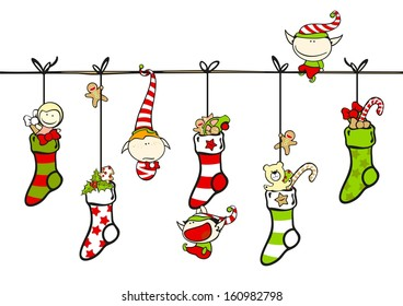 Cute playing elves with Christmas stockings (raster version)