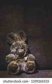 Cute plush brown bunny toy sits on a suede sofa, the image will appeal to young children