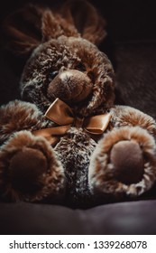 cute plush brown bunny toy sits, the image will appeal to young children and buyers of children's goods and toys