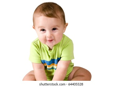 Cute Portrait of 6 Month of Baby on White Background.