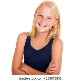 cute pre teen girl half length portrait on white