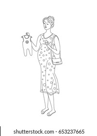 Cute pregnant woman eating a banana and holding kids romper. Raster illustration