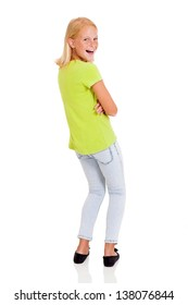 cute preteen girl looking back isolated on white