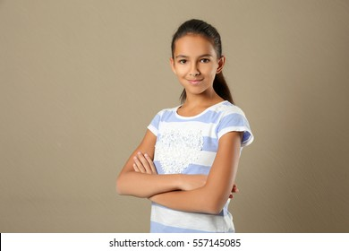Cute pretty girl on color background
