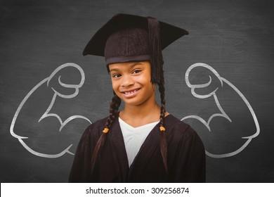 Cute pupil graduating against black background