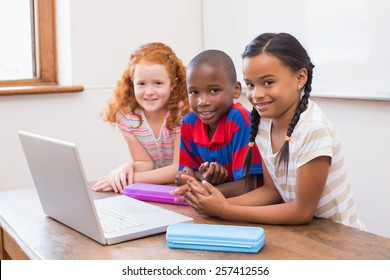 Cute pupils using computer at the elementary school