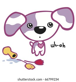 """Cute Puppy with Purple Spots and Vase This image also available as vector art. Please search under """"vector only""""."""