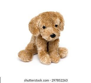 Cute puppy toy shot on white