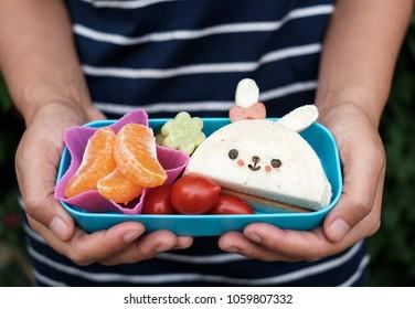 Cute Rabbit English Muffin with Tomato and Orange Bento