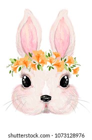A cute rabbit with long ears and a flower wreath. A beautiful illustration for posters in a children's room, for printing on children's clothes, dishes, paper and other surfaces.
