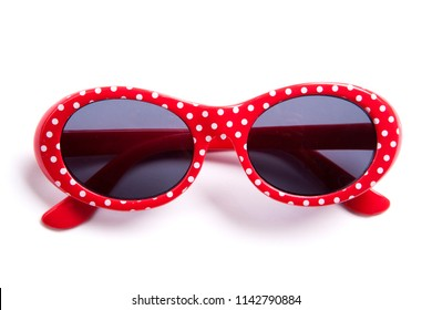 cute red children sunglasses isolated