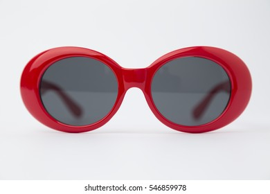 Cute Red round sunglasses isolated