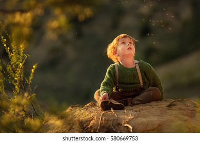 Cute red-haired boy is sitting on the ground and looking at flying mosquitoes highlighted with a sunset sun rays. Image with selective focus and toning.