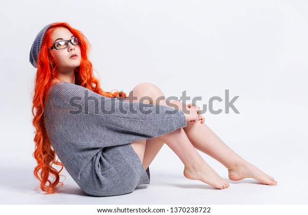Cute Redhead Teen Girl Dressed Knitted Stock Photo Edit Now 1370238722