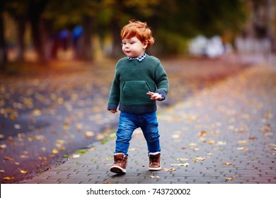 cute redhead toddler baby boy walking on autumn city street in knitted sweater and jeans