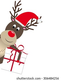 Cute reindeer holding a white present box for christmas