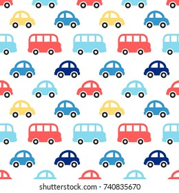 Cute retro kids background as seamless boy pattern with colorful cars and buses for your decoration