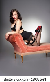 cute retro pin-up on chaise