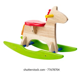 Cute rocking horse chair children could enjoy the riding an image isolated on white