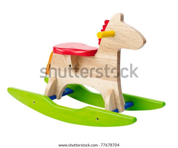 Los niños con mecedoras pueden disfrutar montando una imagen aislada en blanco