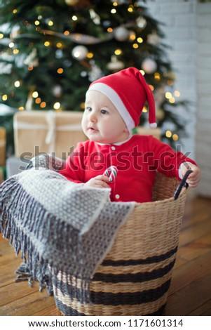 2c3f1331f Cute Santa Baby Wicker Basket Stock Photo (Edit Now) 1171601314 ...