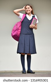 Cute School Girl And Happiness While Standing