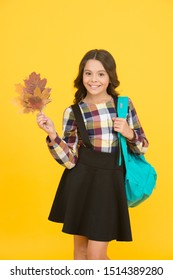 Cute schoolgirl going to school. Small schoolgirl concept. Little kid. Great back to school deals on everything you need to learn in style. Schoolgirl with backpack and fallen leaves. Happy schooling.