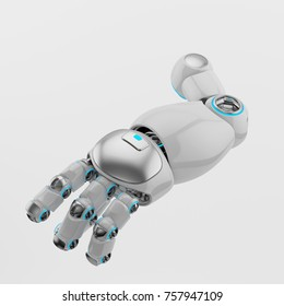 Cute sci-fi cartoon robotic arm part, 3d rendering