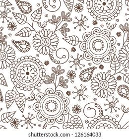 Cute seamless pattern with cartoon flowers and le5aves