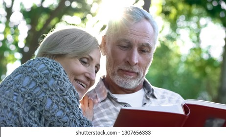 Cute senior couple viewing photoalbum, remembering funny moments of life
