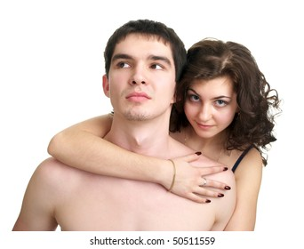 Cute sexual naked couple isolated over white background