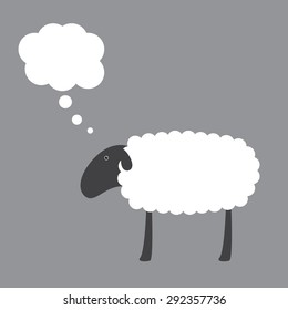 Cute sheep with dark grey head, ear, eye, legs and white body with space for your text and dream bubble over it isolated on grey background. Logo template, design element