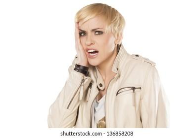Sick Pretty Blonde Short Hair Drinking Stock Photo Edit Now