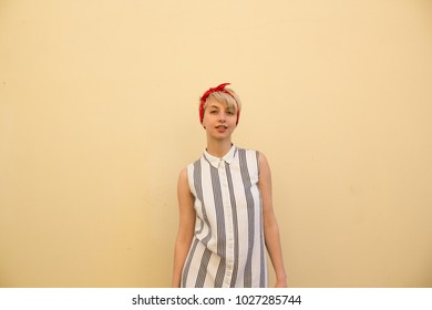 Cute Shorthair Blonde Girl Outdoor Dress Stock Photo Edit Now