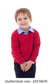 Cute and shy little boy isolated on white background