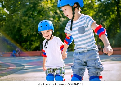 Cute siblings roller skating together