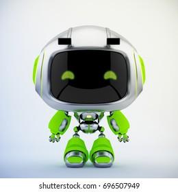 Cute silver green robotic toy – mini unit robot 3d render
