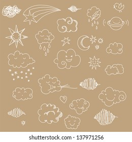 Cute sky doodle with clouds, sun, moon, stars, planet.