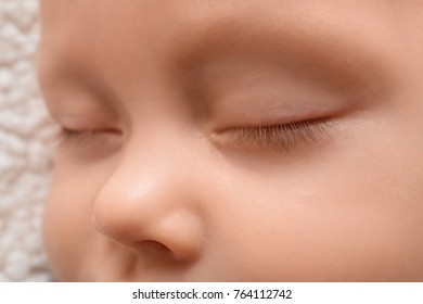 Cute sleeping baby, closeup